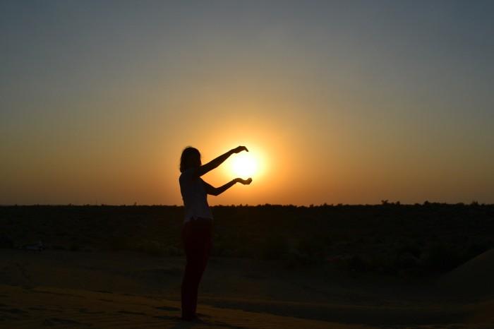 sunset desierto thar